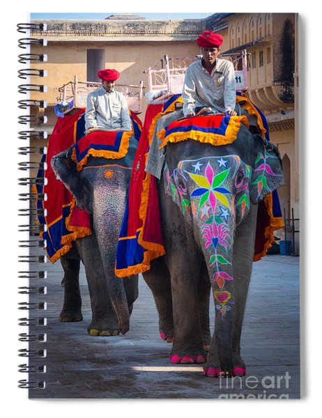Amber Fort Elephants Spiral Notebook
