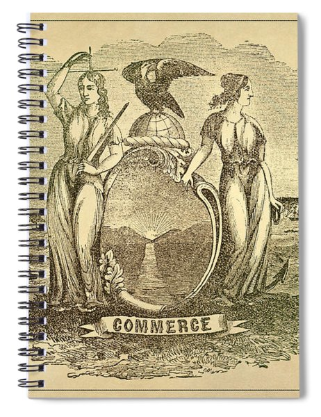 American Commerce - Antique Engraving Reproduction  Spiral Notebook