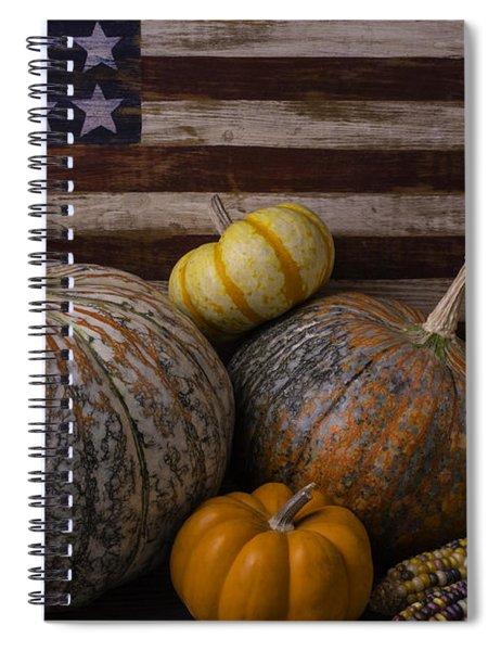 American Flag Autumn Still Life Spiral Notebook