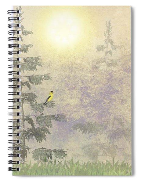 American Goldfinch Morning Mist  Spiral Notebook
