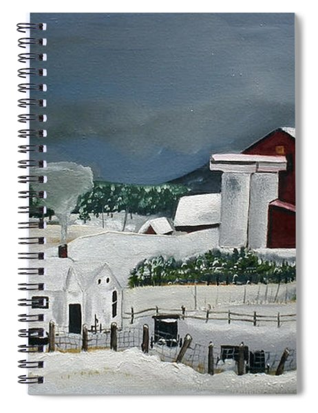 Spiral Notebook featuring the painting Amish Farm - Winter - Michigan by Jan Dappen