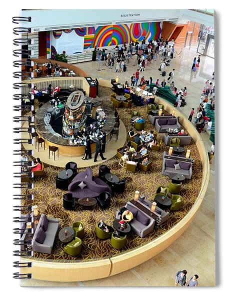 An Aerial View Of The Marina Bay Sands Hotel Lobby Singapore Spiral Notebook