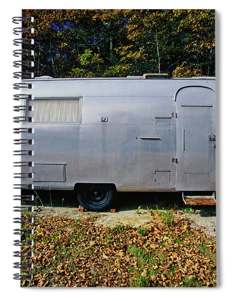 An Old Air Steam Trailer Parked In Maine Spiral Notebook