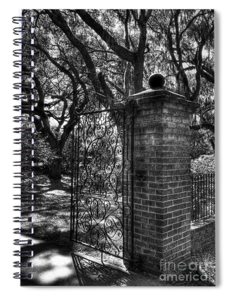 Spiral Notebook featuring the photograph An Open Gate 2 Bw by Mel Steinhauer