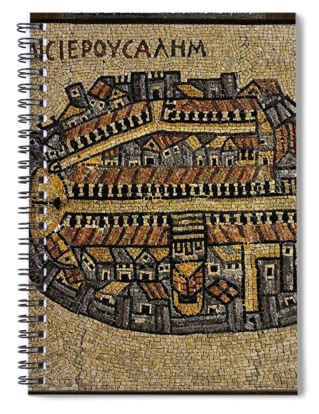 Ancient Jerusalem Mosaic Map Color Framed Spiral Notebook