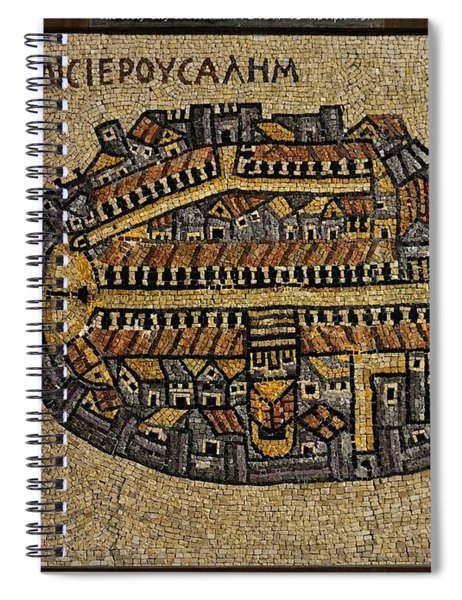 Ancient Jerusalem Mosaic Map Color Framed Spiral Notebook