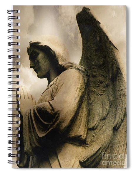 Angel Wings Praying - Spiritual Angel In Clouds Spiral Notebook