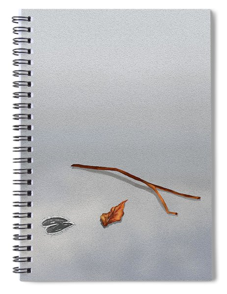 Animal Footprint With Twigs And Leaf On Sand With Copyspace Spiral Notebook