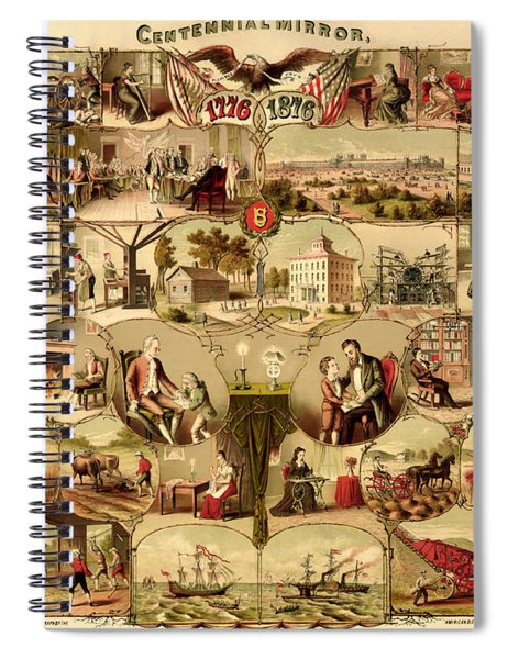 Antique Centennial Mirror Of The United States 1776-1876 Spiral Notebook