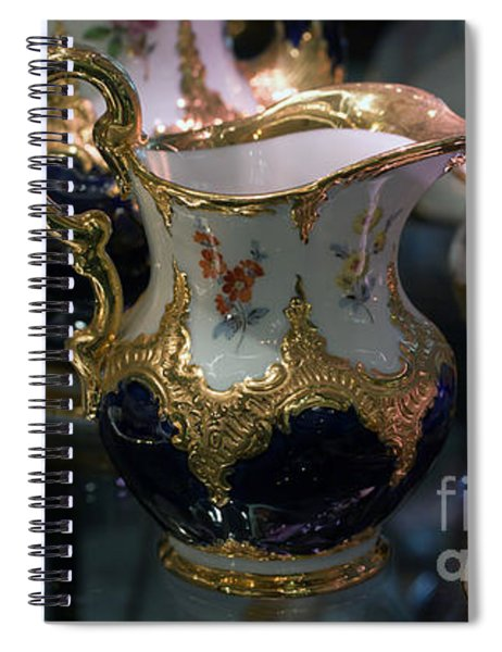 Antique Porcelain Coffee Set In Show Case Spiral Notebook