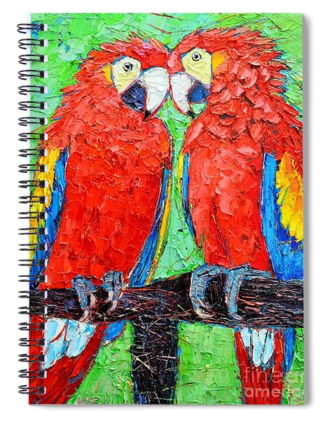Ara Love A Moment Of Tenderness Between Two Scarlet Macaw Parrots Spiral Notebook