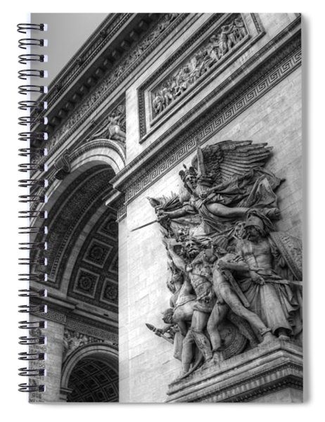 Arc De Triomphe In Black And White Spiral Notebook
