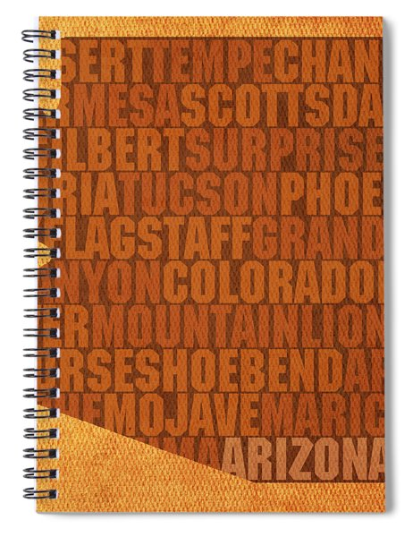 Arizona Word Art State Map On Canvas Spiral Notebook by Design Turnpike