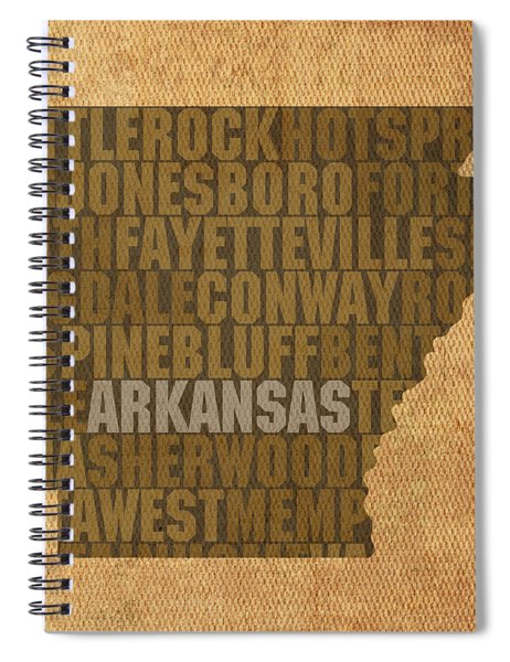 Arkansas Word Art State Map On Canvas Spiral Notebook by Design Turnpike