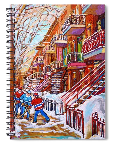 Art Of Montreal Staircases In Winter Street Hockey Game City Streetscenes By Carole Spandau Spiral Notebook