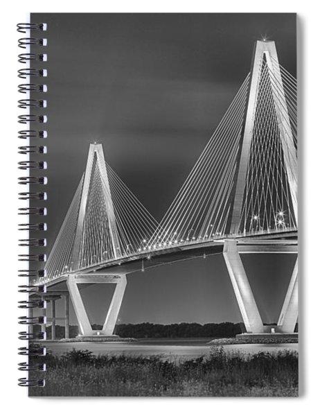 Arthur Ravenel Jr. Bridge In Black And White Spiral Notebook