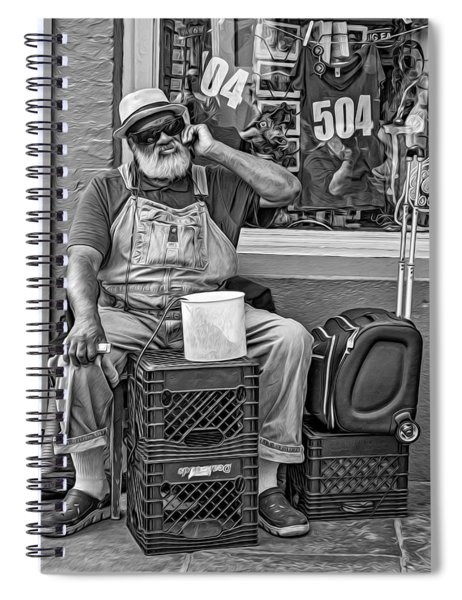 At His Office - Grandpa Elliott Small Bw Spiral Notebook