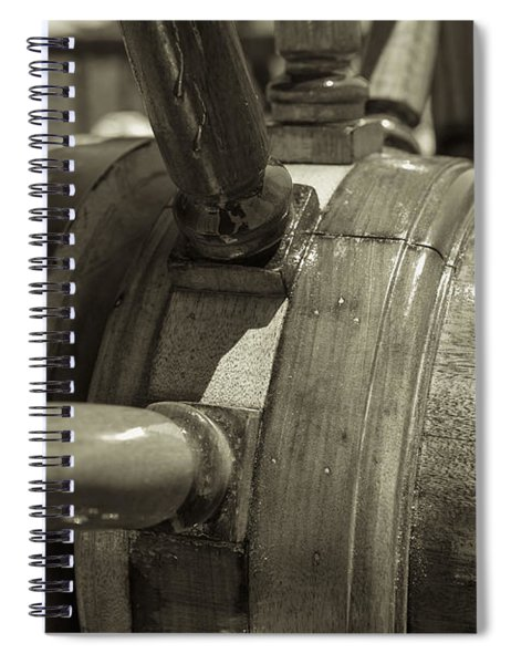 At The Helm Black And White Sepia Spiral Notebook