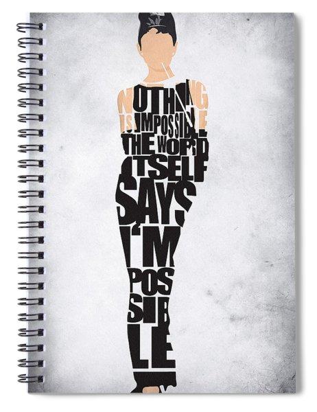 Audrey Hepburn Typography Poster Spiral Notebook
