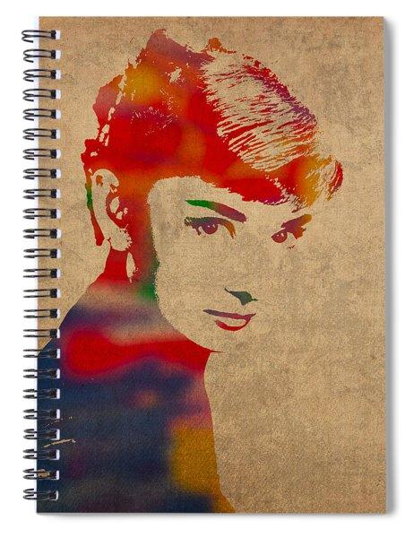 Audrey Hepburn Watercolor Portrait On Worn Distressed Canvas Spiral Notebook