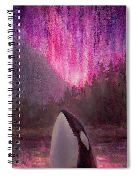 Orca Whale And Aurora Borealis - Killer Whale - Northern Lights - Seascape - Coastal Art Spiral Notebook