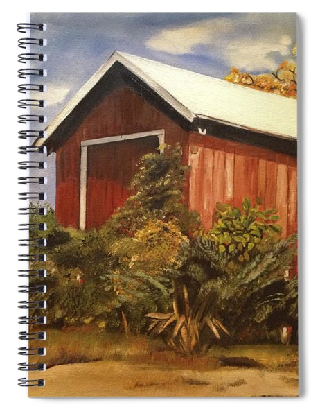Spiral Notebook featuring the painting Autumn - Barn - Ohio by Jan Dappen