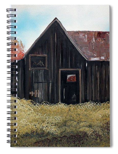 Spiral Notebook featuring the painting Autumn - Barn -orange by Jan Dappen
