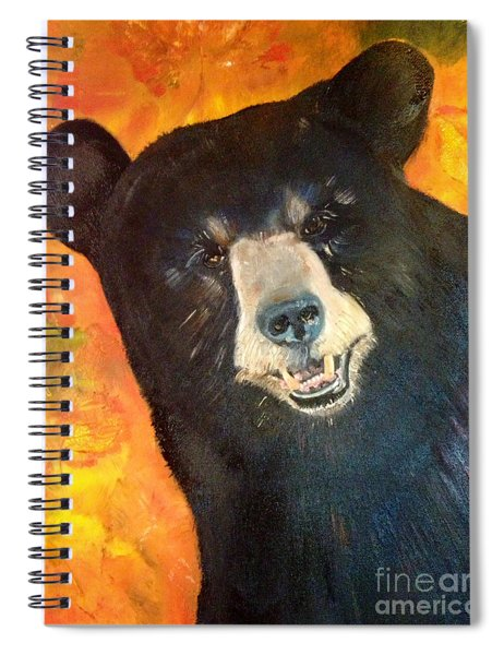 Spiral Notebook featuring the painting Autumn Bear by Jan Dappen
