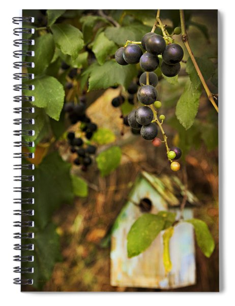 Autumn Grapes With Birdhouse Spiral Notebook