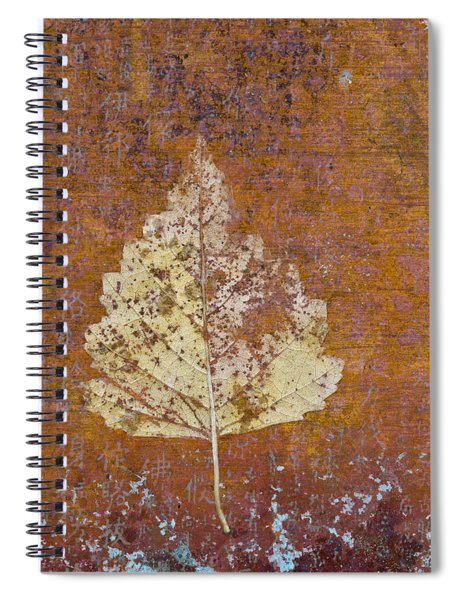 Autumn Leaf On Copper Spiral Notebook