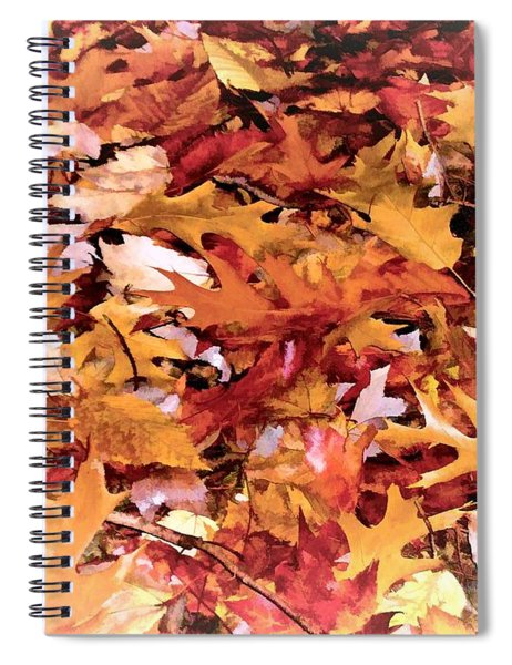 Autumn Leaves On The Ground In New Hampshire In Muted Colors Spiral Notebook