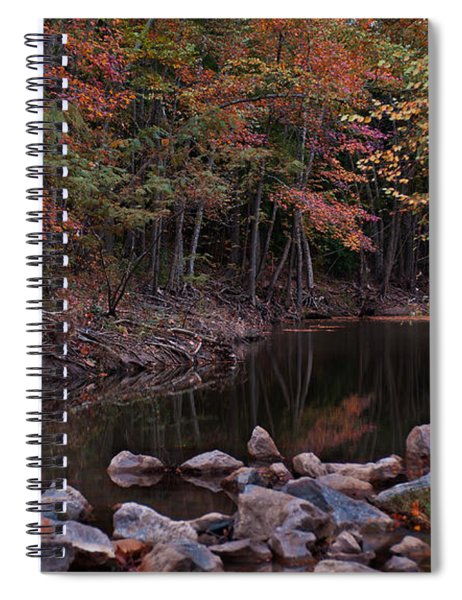 Autumn Leaves Reflecting In The Stream Spiral Notebook