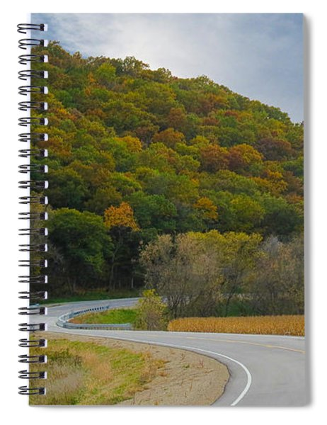 Spiral Notebook featuring the photograph Autumn Motorcycle Rider / Orange by Patti Deters