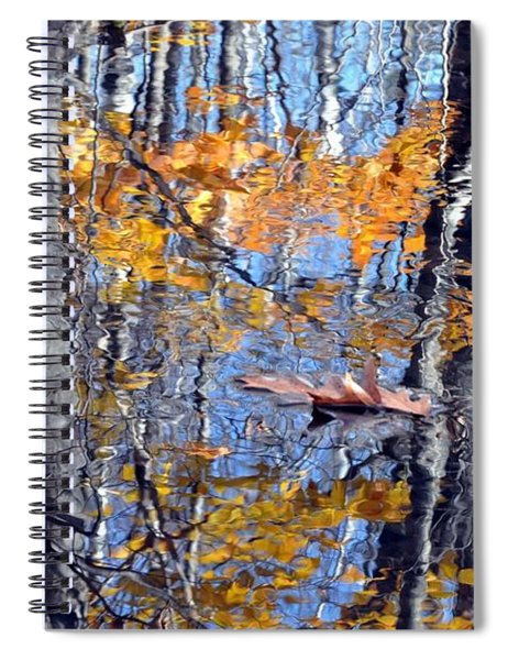 Autumn Reflection With Leaf Spiral Notebook