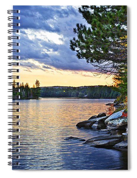 Autumn Sunset At Lake Spiral Notebook