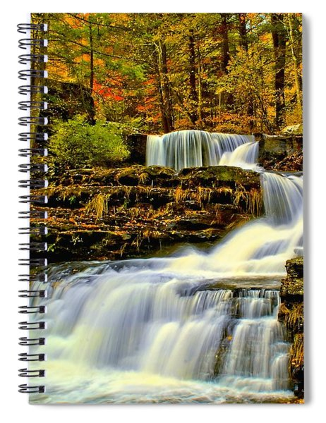 Autumn By The Waterfall Spiral Notebook
