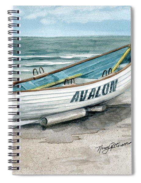 Avalon Lifeguard Boat  Spiral Notebook