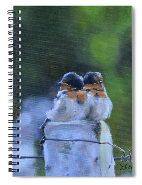 Baby Swallows On Post Spiral Notebook