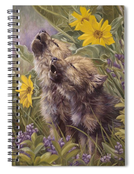 Baby Wolves Howling Spiral Notebook