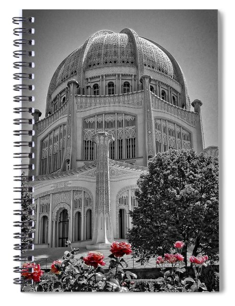 Bahai Temple Wilmette In Black And White Spiral Notebook