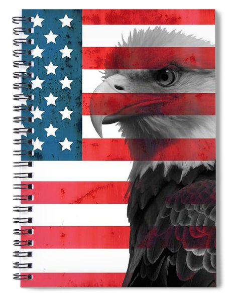 Bald Eagle American Flag Spiral Notebook