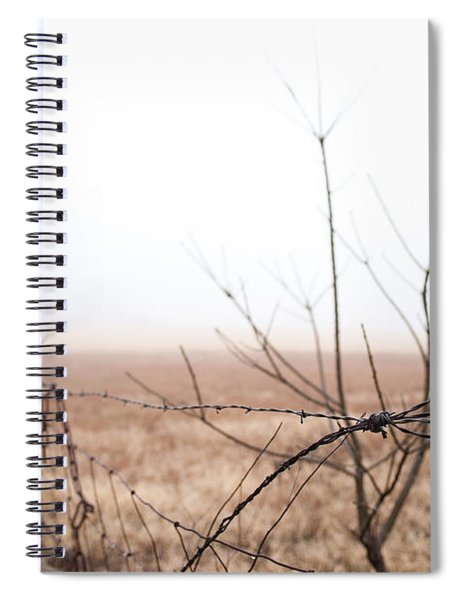 Barbed Wire Fence In The Fog Spiral Notebook