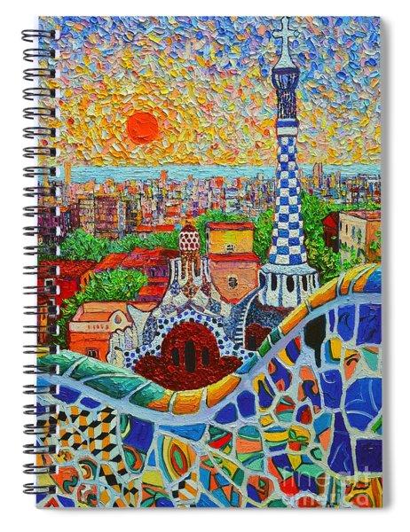 Barcelona Sunrise - Guell Park - Gaudi Tower Spiral Notebook