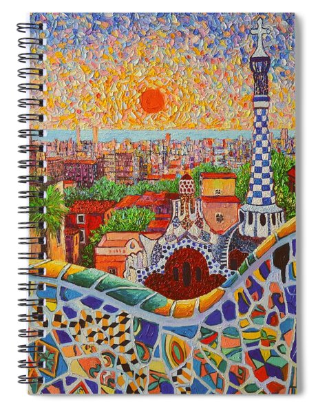 Barcelona Sunrise Light - View From Park Guell Of Gaudi - Square Format Spiral Notebook