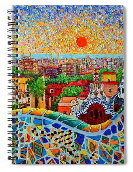 Barcelona View At Sunrise - Park Guell  Of Gaudi Spiral Notebook