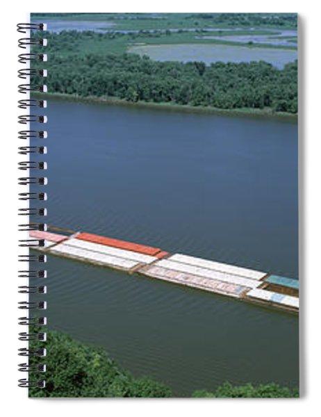 Barge In A River, Mississippi River Spiral Notebook