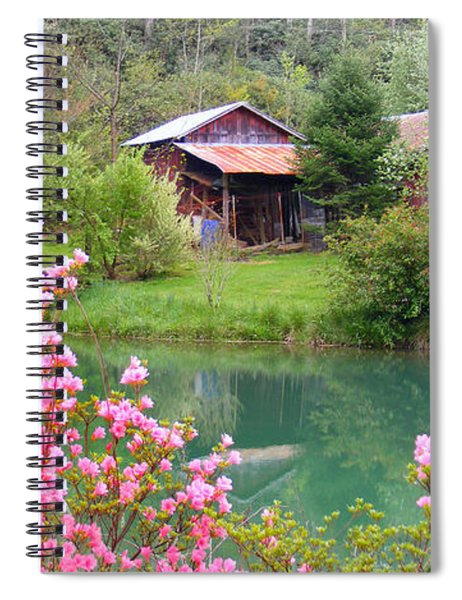 Barn And Flowers Near Pond Spiral Notebook