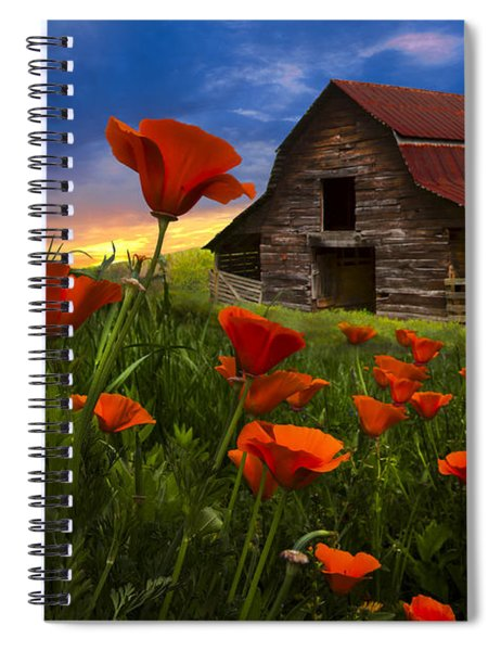 Barn In Poppies Spiral Notebook