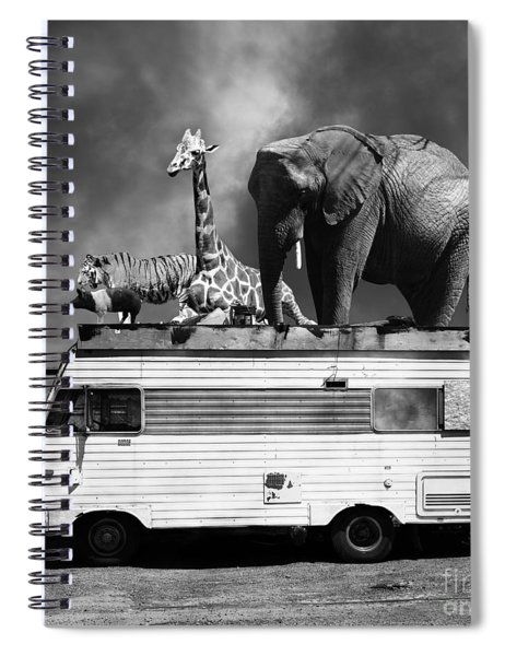Barnum And Bailey Goes On A Road Trip 5d22705 Square Black And White Spiral Notebook