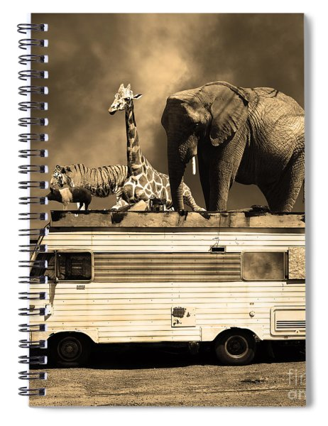 Barnum And Bailey Goes On A Road Trip 5d22705 Square Sepia Spiral Notebook
